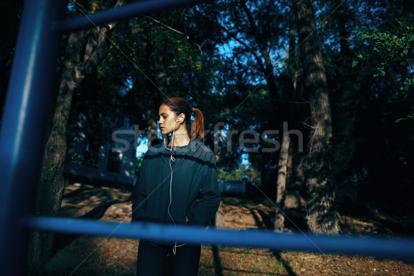 woman warming up on sport yard Stock photo © chesterf