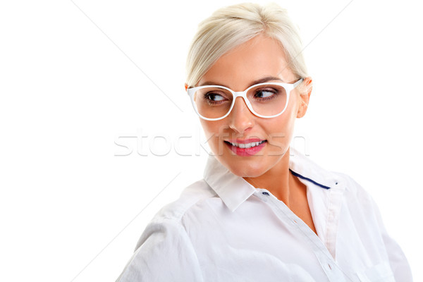 woman in white glasses. Head and shoulders Stock photo © chesterf