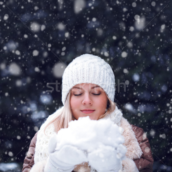 happy woman with closed eyes holding snow Stock photo © chesterf