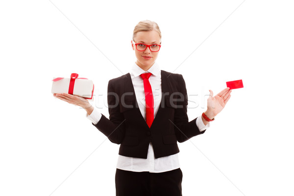 woman holding blank businesscard and giftbox Stock photo © chesterf