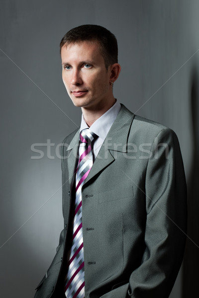 businessman portrait over gray Stock photo © chesterf