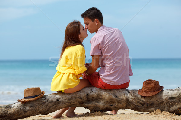 lovely couple sitting on log  Stock photo © chesterf