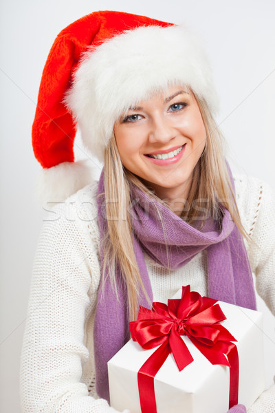 woman holding giftbox Stock photo © chesterf