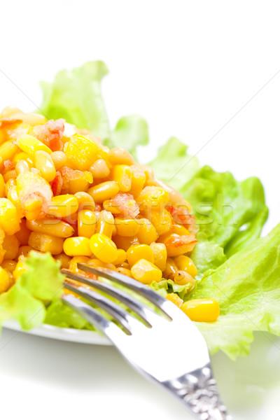 Salata sedir somun beyaz restoran Stok fotoğraf © chesterf