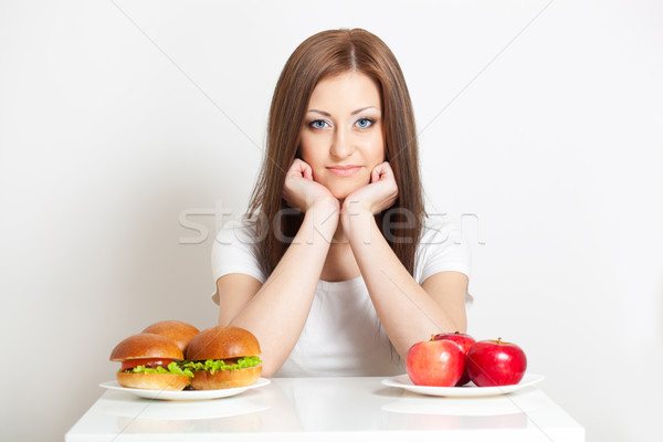 woman sitting behind the table with food Stock photo © chesterf