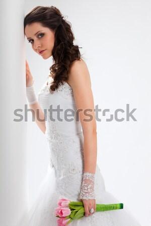 Belle mariée studio portrait rétroéclairage fille Photo stock © chesterf