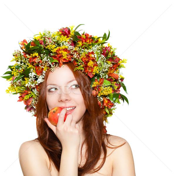 Mujer flor corona cabeza manzana Foto stock © chesterf
