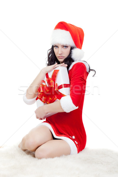 seriously woman in santa costume sitting on floor Stock photo © chesterf