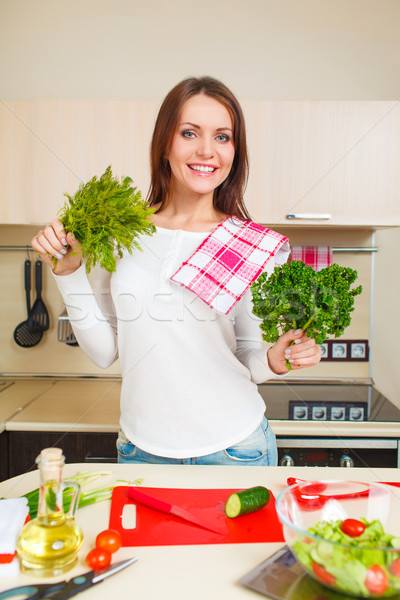 kitchen woman making salad Stock photo © chesterf