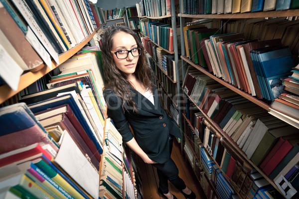 brunette woman at library Stock photo © chesterf