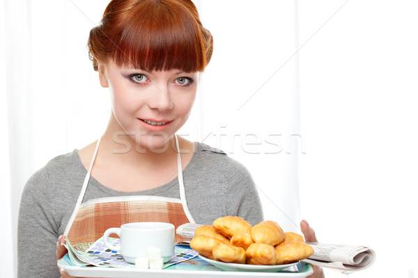 housewife holding tray with breakfast Stock photo © chesterf