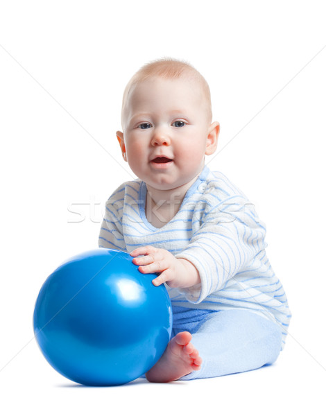 little baby boy with blue ball Stock photo © chesterf