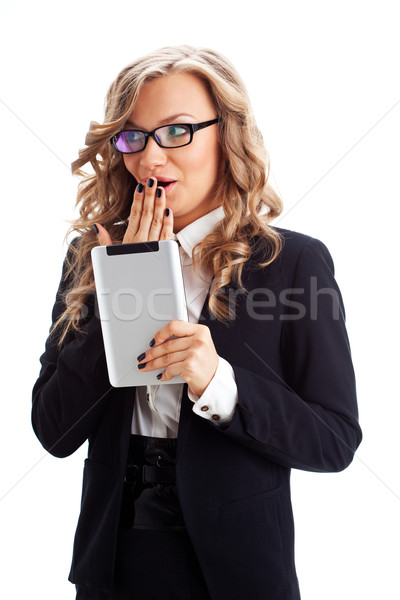businesswoman  wondering with tablet pc Stock photo © chesterf