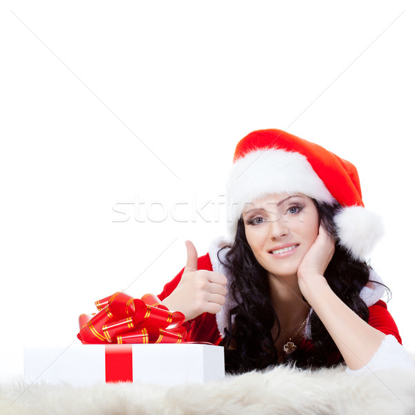woman laying on the floor with giftbox Stock photo © chesterf