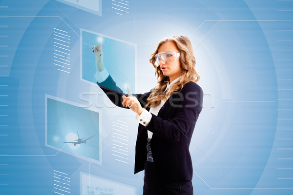 woman working with tablet Stock photo © chesterf