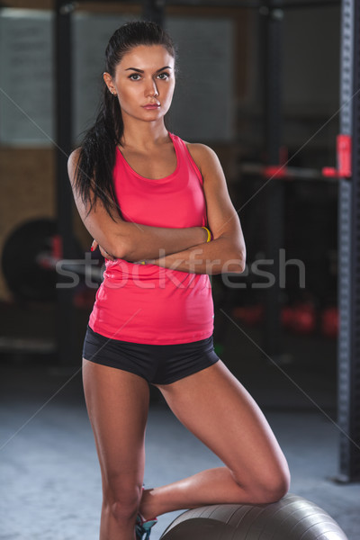 woman posing with fitball in the gym Stock photo © chesterf