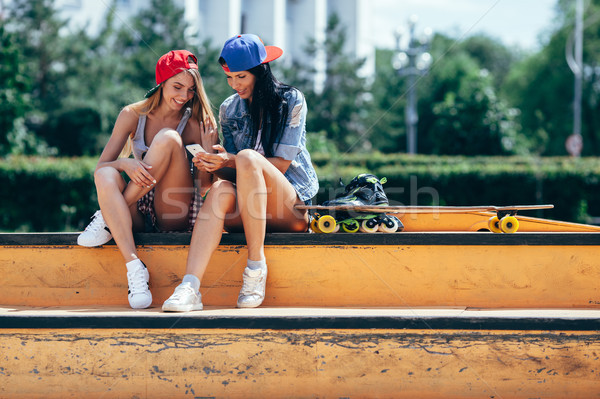 two young girls on the skate park Stock photo © chesterf