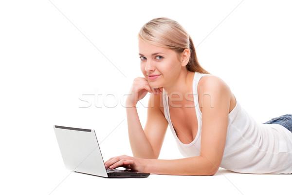 женщину полу ноутбука белый Сток-фото © chesterf