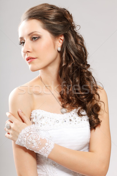 brunette bride portrait Stock photo © chesterf