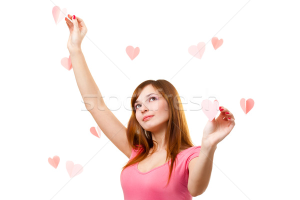 woman touching heart shape Stock photo © chesterf