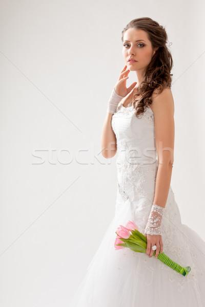 Belo noiva estúdio retrato backlight olhando Foto stock © chesterf