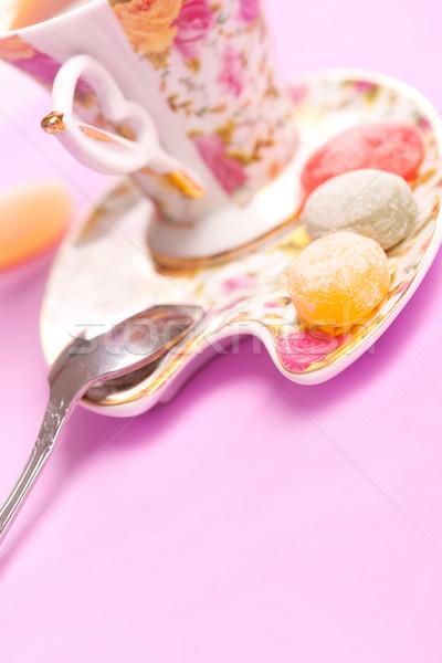 Кубок чай конфеты ложку копия пространства текста Сток-фото © chesterf