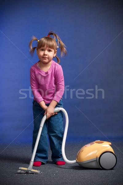 Kislány porszívó ház baba munka gyermek Stock fotó © chesterf