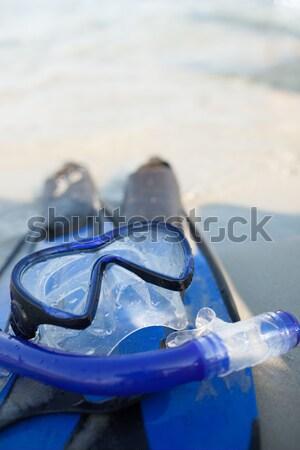 Maschera sabbia blu primo piano view spiaggia Foto d'archivio © chesterf