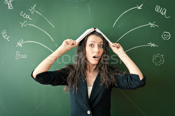 horrified woman over chalkboard Stock photo © chesterf
