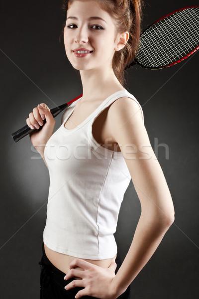 Kadın badminton karanlık gülümseme kadın Stok fotoğraf © chesterf
