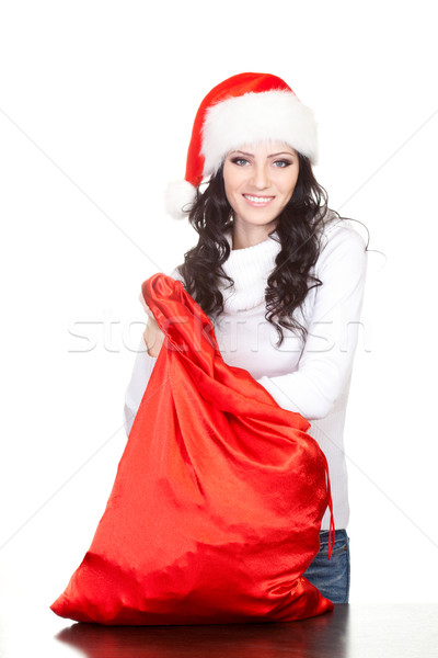 happy woman finding for surprise in the sack Stock photo © chesterf