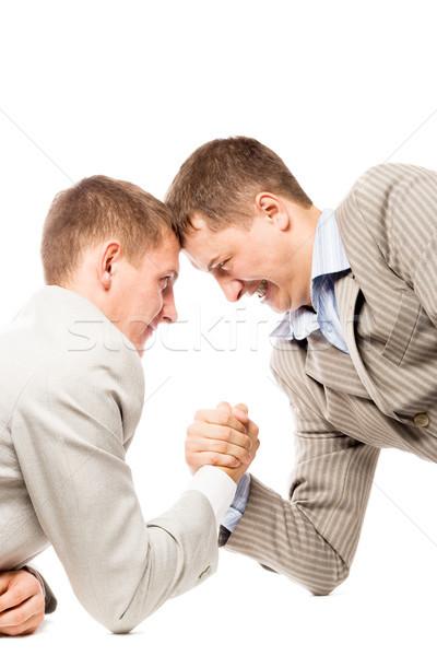 Iki adam güreş silah avantaj iş beyaz Stok fotoğraf © chesterf