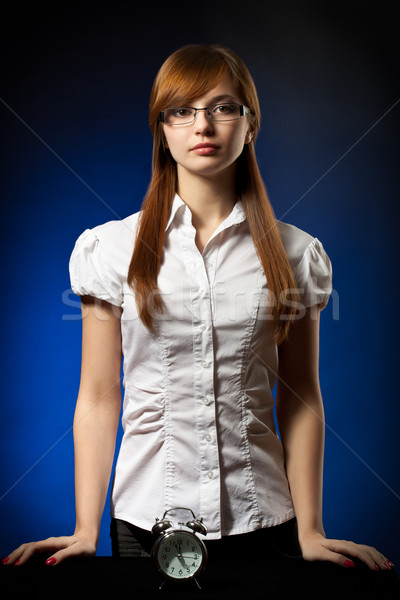 business woman and alarm clock Stock photo © chesterf