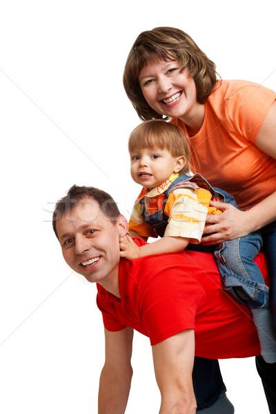 играет Семейный портрет счастливым белый технологий оранжевый Сток-фото © chesterf