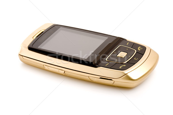 gold cell phone isolated Stock photo © chesterf