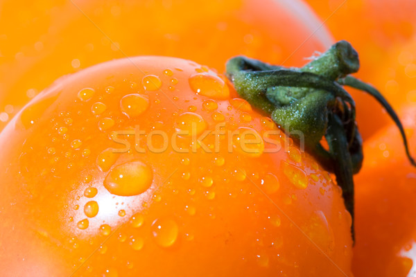 closeup macro tomato with green shank Stock photo © chesterf
