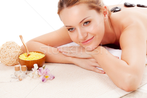 woman receiving spa stones therapy Stock photo © chesterf