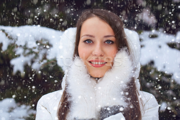 Belle brunette femme permanent chutes de neige mains tenant Photo stock © chesterf