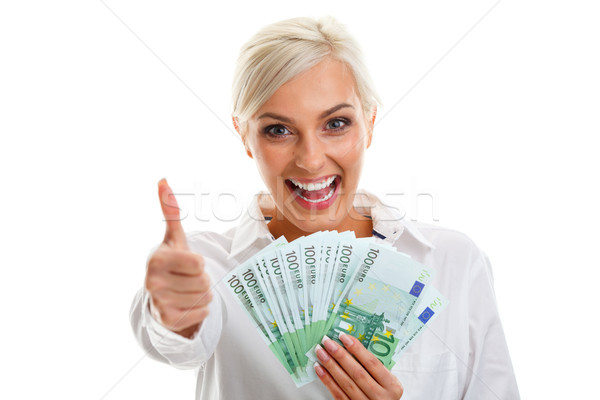 幸せ 若い女性 ユーロ 白 ストックフォト © chesterf