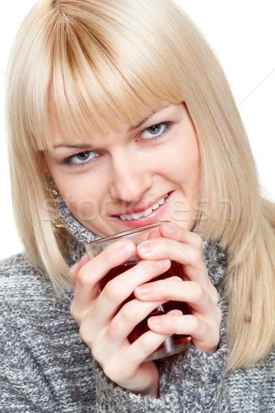 Fincan çay beyaz kadın yüz mutlu Stok fotoğraf © chesterf