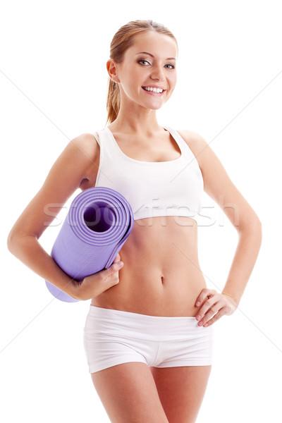 Kobieta fitness brunetka biały Zdjęcia stock © chesterf