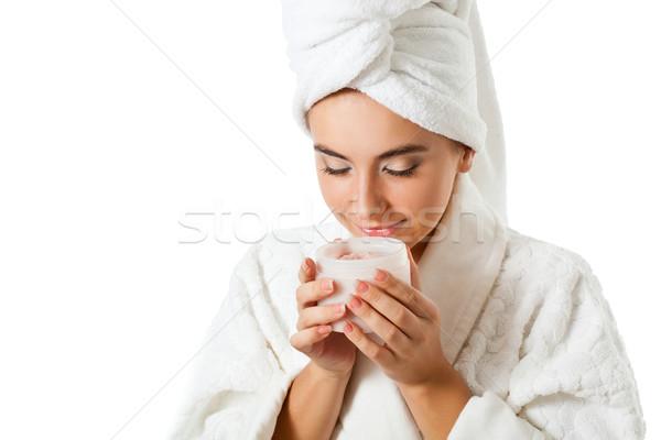 Nő szag bögre bozót gyönyörű nő tart Stock fotó © chesterf