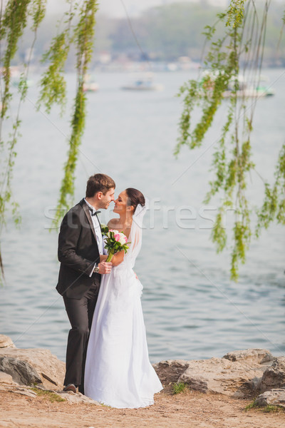 Couple permanent lac belle vertical Photo stock © chesterf