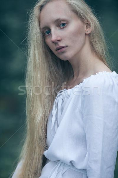 Kadın göl sarışın kadın uzun saçlı sis Stok fotoğraf © chesterf