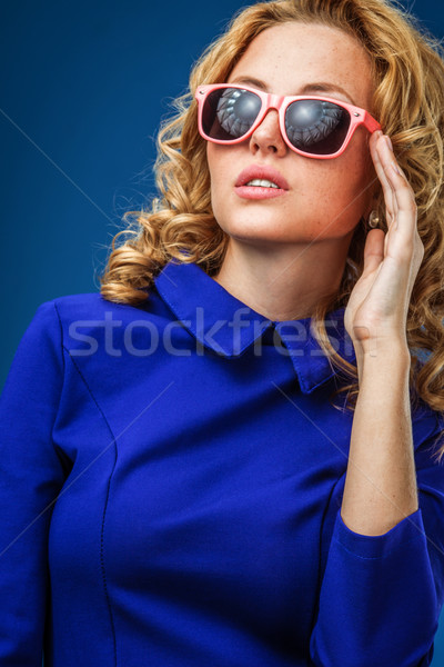 woman wearing blue dress Stock photo © chesterf