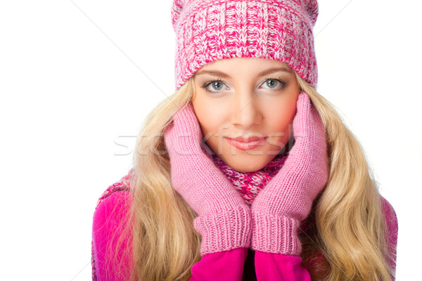 blonde woman wearing knitwear Stock photo © chesterf