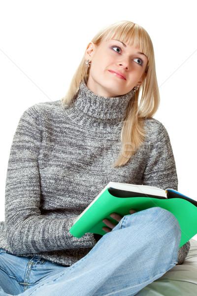 Blond kobieta książki biały pracy student Zdjęcia stock © chesterf