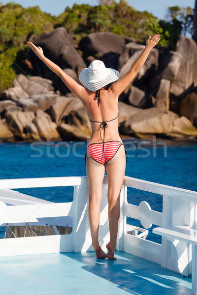 woman in swimsuit standing on yacht  Stock photo © chesterf