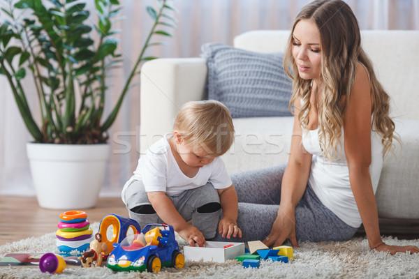 Sevimli anne çocuk erkek oynamak birlikte Stok fotoğraf © chesterf