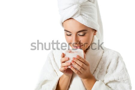 woman holding jar with scrub Stock photo © chesterf